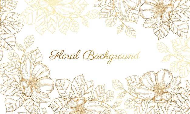 Abstrakcyjne tło z ręcznie rysowanym złotym kwiatem
