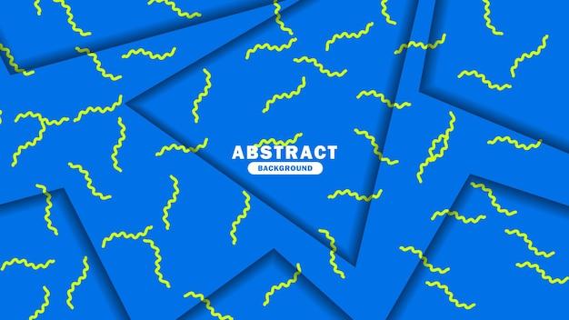 Abstrakcyjne tło z żółtą zygzakowatą linią nowoczesne niebieskie tło wektor szablon