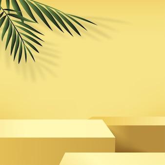 Abstrakcyjne tło z żółtym kolorem, geometrycznym podium 3d i palmą