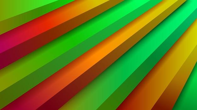 Abstrakcyjne tło ze schodami wolumetrycznymi w kolorach pomarańczowym i zielonym