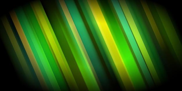 Abstrakcyjne tło ze świecącymi kolorowymi ukośnymi paskami w zielonych kolorach