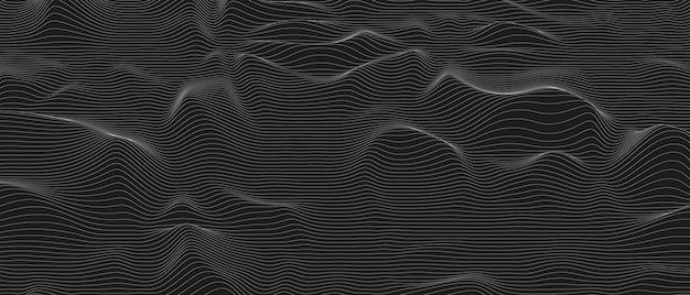 Abstrakcyjne tło ze zniekształconymi kształtami linii na czarnym tle