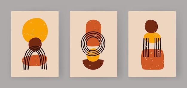 Abstrakcyjne trio geometrycznych figur boho minimalistyczne kule i szkic łuku