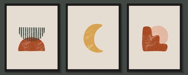 Abstrakcyjne współczesne estetyczne plakaty z geometrycznymi kształtami i teksturami. . dekoracja ścienna boho