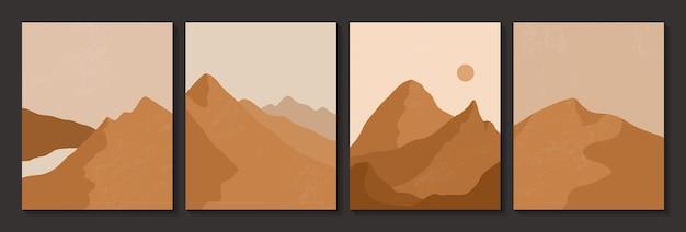 Abstrakcyjne, współczesne plakaty estetyczne z pustynią.