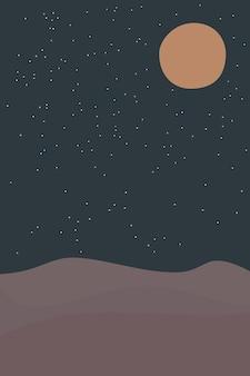 Abstrakcyjne współczesne tło z nocnym krajobrazem pustynnych gwiazd i dekoracje ścienne boho w pełni księżyca