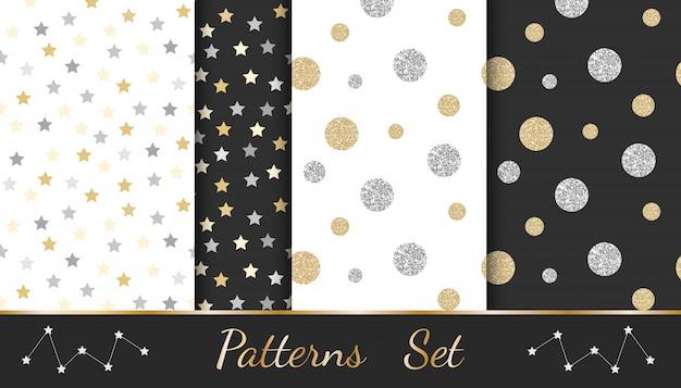 Abstrakcyjne wzory z elementami świecącymi: kółka, gwiazdki, linie