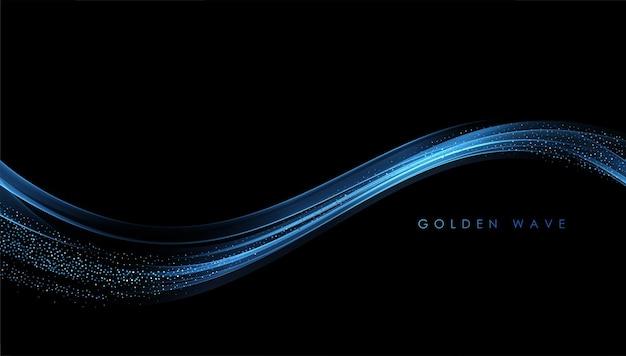 Abstrakcyjne złote fale błyszczące złote ruchome linie element projektu z efektem brokatu na ciemnym tle ...