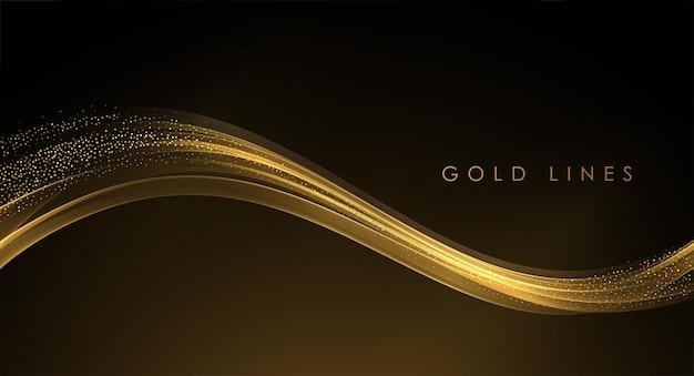 Abstrakcyjne złote fale błyszczące złote ruchome linie z efektem brokatu na ciemnym tle
