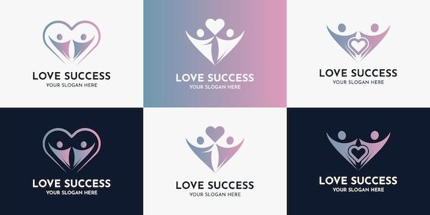 Abstrakcyjni ludzie i symbol miłości, logo inspiracji dla sukcesu gospodarstwa domowego