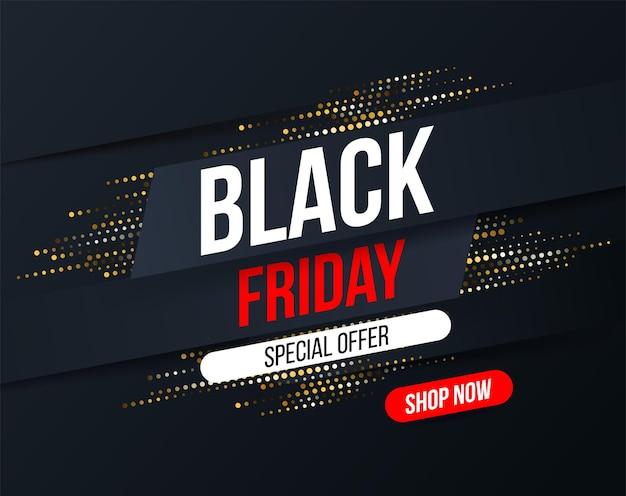 Abstrakcyjny baner czarny piątek z efektem brokatu złotego półtonu na specjalne oferty