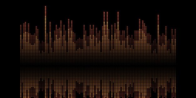Abstrakcyjny baner z pikselowym projektem fal dźwiękowych