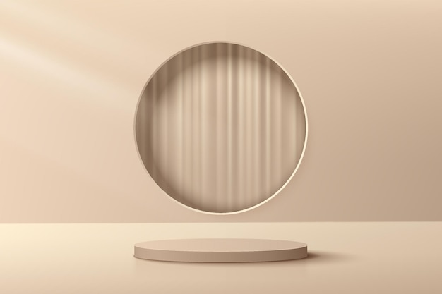 Abstrakcyjny beżowo-brązowy podest z cylindrem 3d z okrągłym oknem i luksusową zasłoną w środku