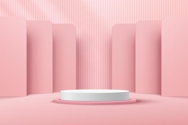 Abstrakcyjny biały cylinder cokół podium jasnoróżowy pusty pokój pionowe paski wzór renderowania 3d kształt