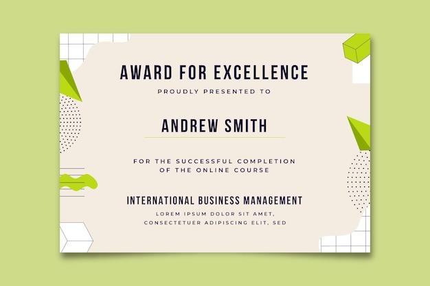 Abstrakcyjny certyfikat geometrycznej nagrody biznesowej