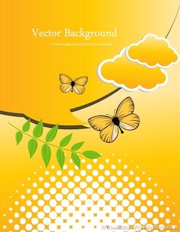 Abstrakcyjny charakter żółty motyl wektora tła zestaw chmury