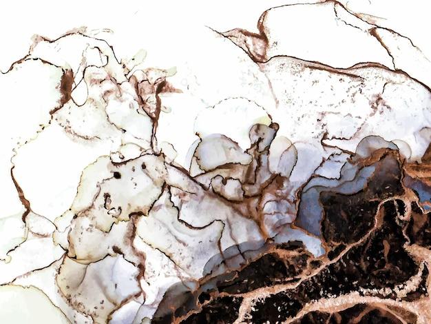 Abstrakcyjny czarny brązowy i złoty alkohol farba atramentowa marmur płynna sztuka akwarelowa tapeta plakat brązowy ...