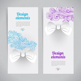 Abstrakcyjny elegancki design z papierową kokardką