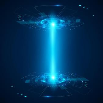 Abstrakcyjny element hud futurystyczny obiekt. wyświetlacz hologramowy 3d. nauka i technologia lub science fiction. ilustracja wektorowa
