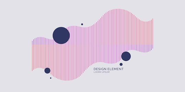 Abstrakcyjny element z dynamicznymi falami liniowymi. ilustracja wektorowa w płaskim minimalistycznym stylu