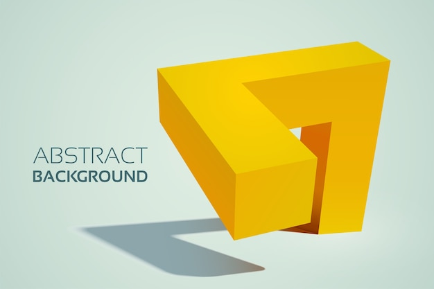 Abstrakcyjny geometryczny żółty kształt 3d