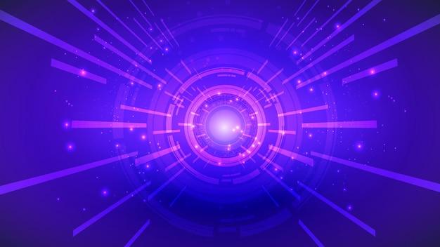 Abstrakcyjny interfejs użytkownika hud ze świecących futurystycznych elementów. zaawansowana sieć cyfrowa, komunikacja, zaawansowane technologie.
