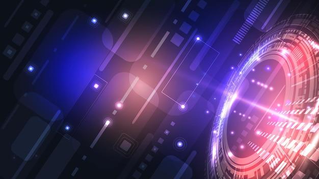 Abstrakcyjny interfejs użytkownika hud ze świecących futurystycznych elementów. zaawansowana technologicznie sieć cyfrowa, komunikacja, zaawansowana technologia. eps 10.
