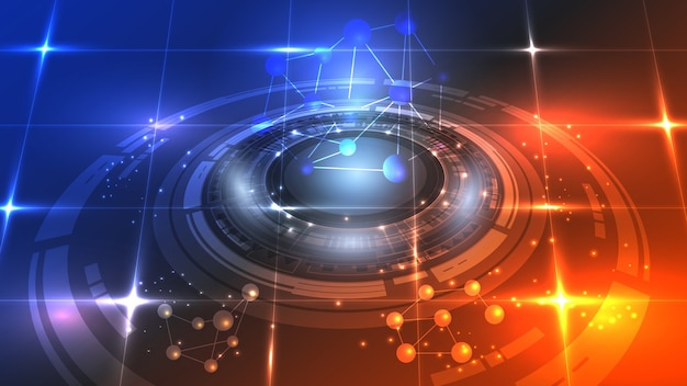 Abstrakcyjny interfejs użytkownika hud ze świecących futurystycznych elementów