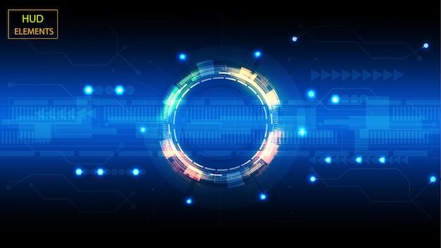 Abstrakcyjny interfejs użytkownika hud ze świecących futurystycznych elementów.