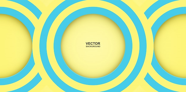 Abstrakcyjny. kolorowe pastele niebieski, żółty okrąg kształt mirażu nakładają się tło. światło i cień.