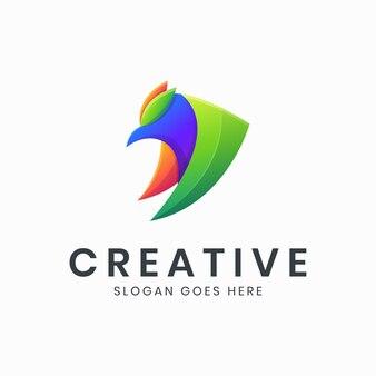 Abstrakcyjny kolorowy szablon logo gradientowego ptaka