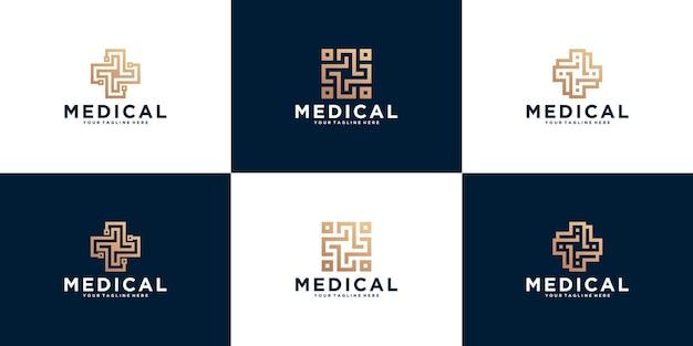 Abstrakcyjny krzyż plus logo medyczne dla zdrowia, medycyny i kliniki