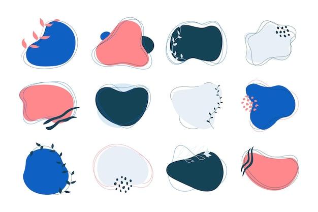 Abstrakcyjny kształt banerów. płynne elementy graficzne z nowoczesnymi, organicznymi falistymi formami. wektor na białym tle scenografia ilustracje nowoczesne kolorowe elementy abstrakcyjne banery