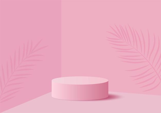 Abstrakcyjny kształt geometrii podium, różowy, pastelowy, prezentacja stoiska produktów z minimalnym stylem