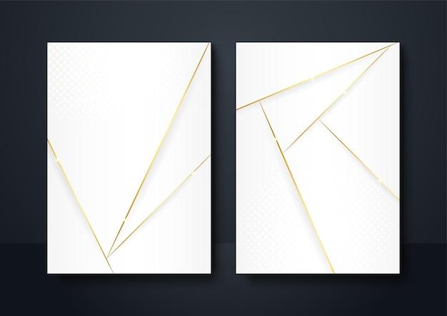 Abstrakcyjny kształt geometryczny białe tło ze złotą linią światła i cienia 3d z warstwami do projektowania prezentacji. tło szablonu historii mediów społecznościowych, baner, ulotka, plakat