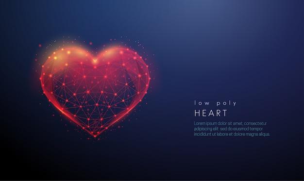 Abstrakcyjny kształt serca. konstrukcja w stylu low poly
