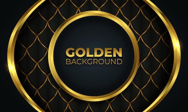 Abstrakcyjny kształt złotego koła na ciemnym tle