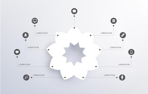 Abstrakcyjny kwiat, biały kształt, infografika z ikonami, sieci społecznościowe