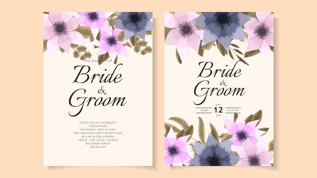 Abstrakcyjny kwiatowy kwiat szablon karty zaproszenie na ślub wesele