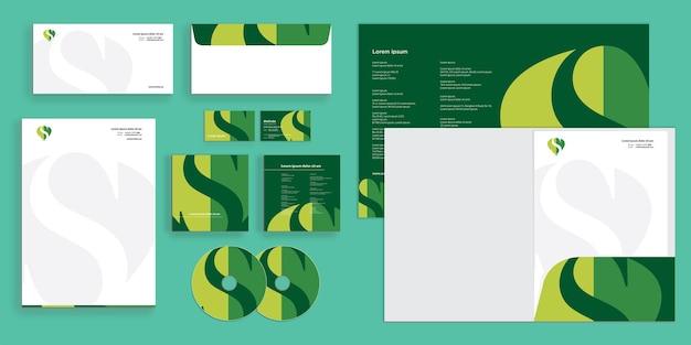 Abstrakcyjny liść z literą s nowoczesna identyfikacja przedsiębiorstwa stacjonarnego