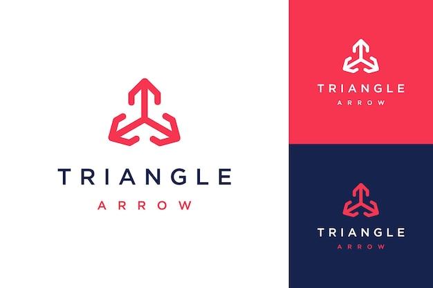 Abstrakcyjny lub trójkątny projekt logo ze strzałkami