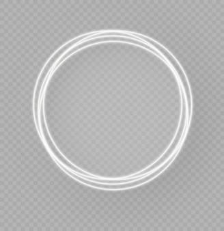 Abstrakcyjny luksusowy biały pierścień świetlny z efektem śledzenia, świecącymi się okręgami lub migającymi gwiazdami,