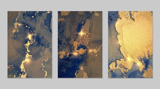Abstrakcyjny marmurowy zestaw złotego i ciemnoniebieskiego tła z wzorem geody tekstury z brokatem