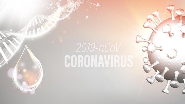 Abstrakcyjny model koronawirusa w futurystycznych promieniach.