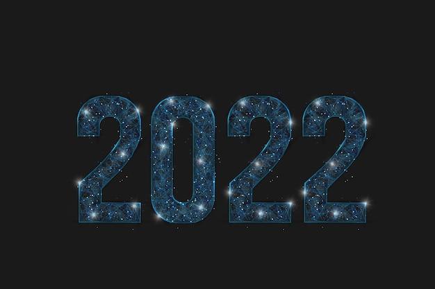 Abstrakcyjny na białym tle niebieski obraz nowego roku numer 2022. wielokątna ilustracja szkieletowa low poly wygląda jak gwiazdy na blasku nocnego nieba w spase lub latające szklane odłamki. cyfrowa sieć, projektowanie internetu.