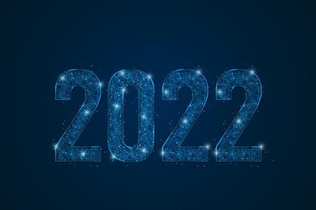 Abstrakcyjny na białym tle niebieski obraz nowego roku numer wielokąta low poly wireframe ilustracja wygląda jak...