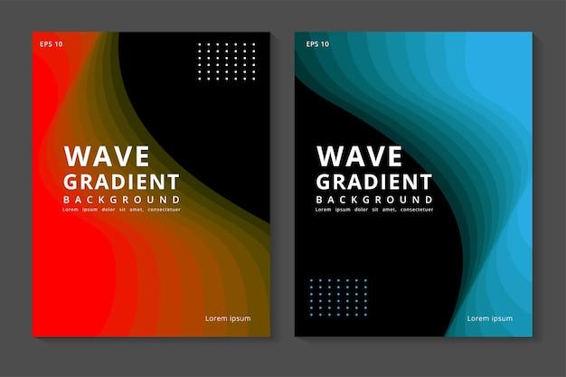 Abstrakcyjny nowoczesny pakiet banerów z kolorową falą linii
