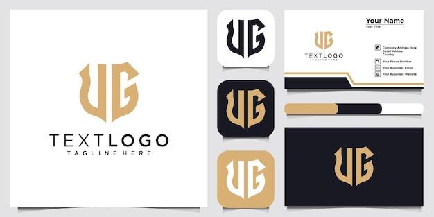 Abstrakcyjny nowoczesny początkowy list znak ug gu luksusowy szablon projektu logo i wizytówka