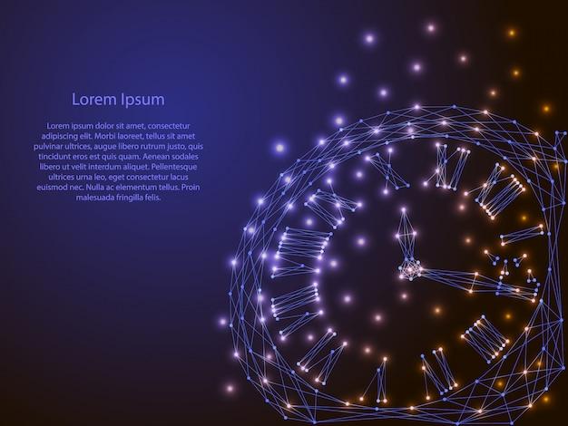 Abstrakcyjny obraz z wielokątnych linii i świecące gwiazdy na ciemnym tle