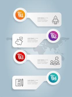 Abstrakcyjny pasek zakładek pionowy szablon elementu prezentacji infografiki z ikoną biznesową 4 opcja wektor ilustracja tło